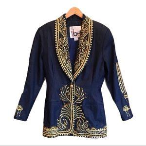 ibe Denim VTG blazer Gold Metallic Embroidered 8
